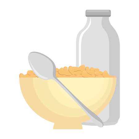 cereal dish with spoon and bottle milk vector illustration design Foto de archivo - 103256187