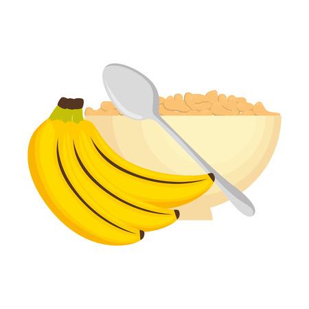cereal dish with bananas clusters vector illustration design Ilustração