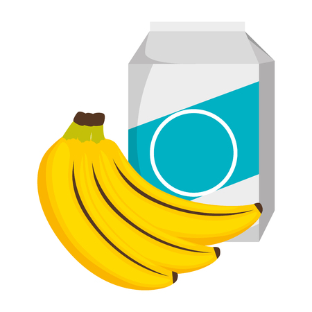 milk box with bananas clusters vector illustration design