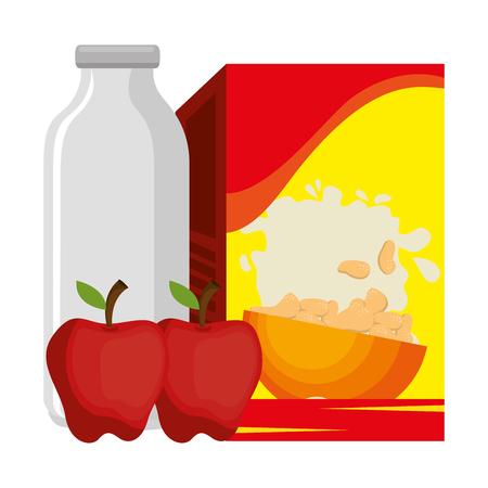 cereal box with milk bottle and apple vector illustration design Standard-Bild - 103256197