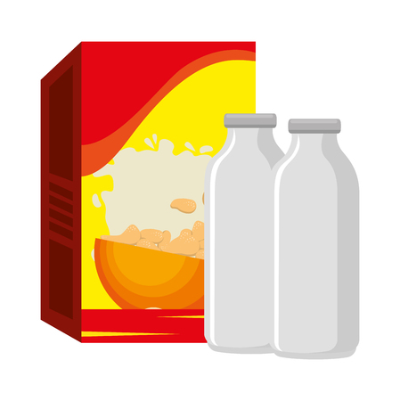 cereal box with milk bottles vector illustration design Archivio Fotografico - 103256203