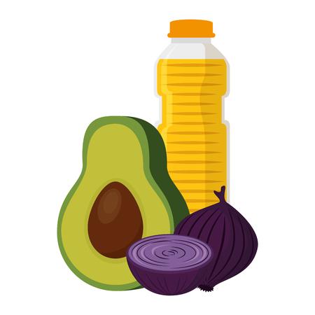 oil bottle with vegetables vector illustration design