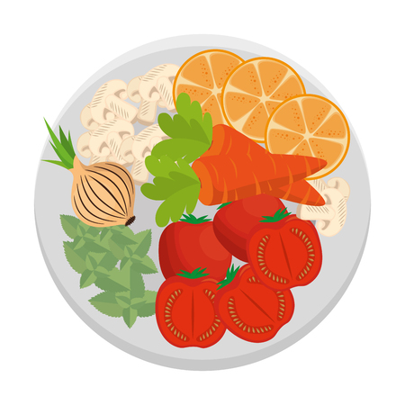 dish with vegetables healthy food vector illustration design