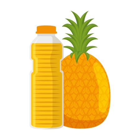 juice fruit bottle with pineapple vector illustration design Stock Illustratie