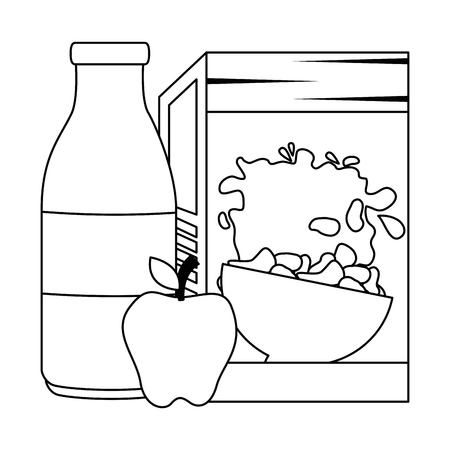 cereal box with milk bottle and apple vector illustration design Foto de archivo - 103268758
