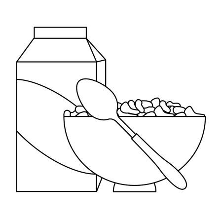 céréales avec du lait et un plat vector illustration design