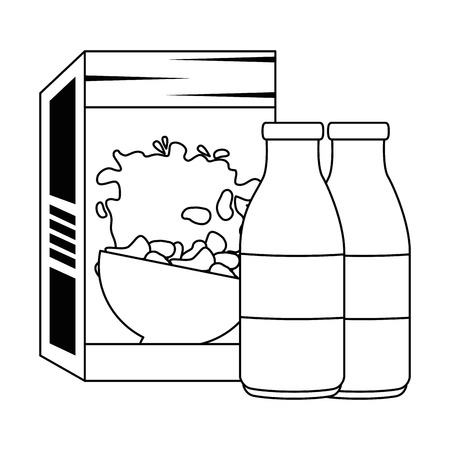 cereal box with milk bottles vector illustration design
