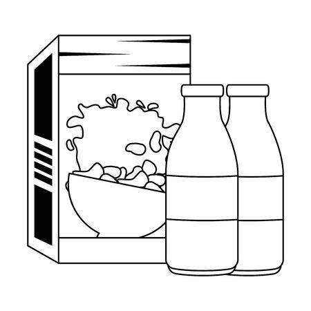 cereal box with milk bottles vector illustration design Archivio Fotografico - 103268966