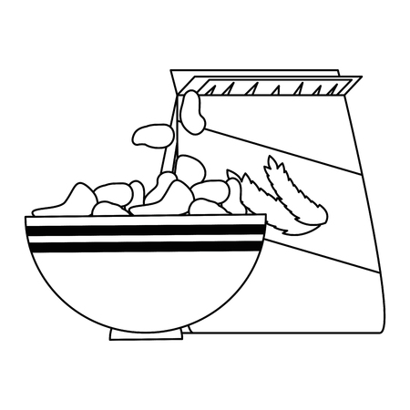 cereal dish with bag vector illustration design