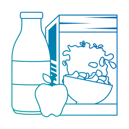 cereal box with milk bottle and apple vector illustration design