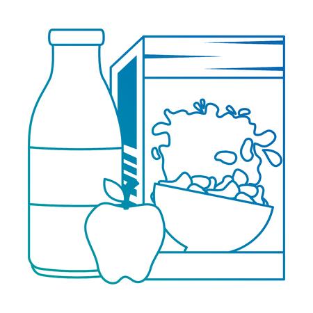 cereal box with milk bottle and apple vector illustration design Stok Fotoğraf - 103269019
