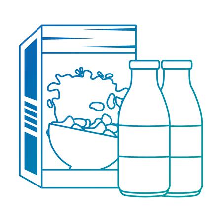 cereal box with milk bottles vector illustration design