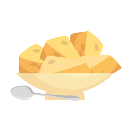 dish with cheese pieces healthy food vector illustration design Illustration