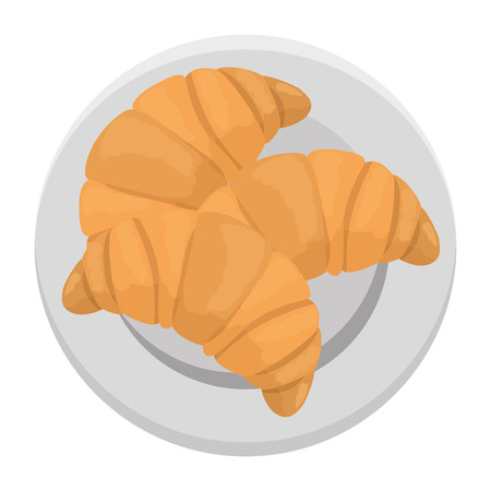 delicious bread croissant in dish bakery vector illustration design Illustration