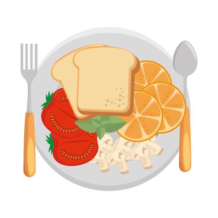 dish with delicious breakfast menu vector illustration design Archivio Fotografico - 103269586