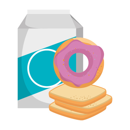 sweet donut with bread and milk vector illustration design Stock Illustratie