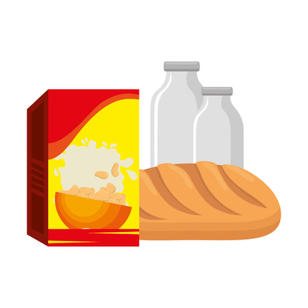 cereal box with bread and milk bottle vector illustration design 일러스트