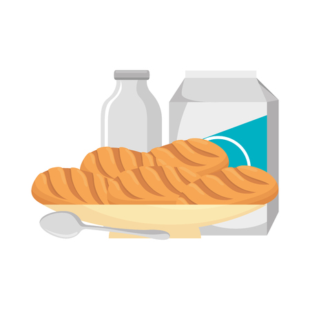 delicious breads in dish and milk vector illustration design Illustration