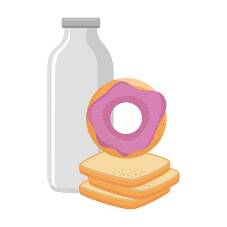 sweet donut with bread and milk vector illustration design Ilustração