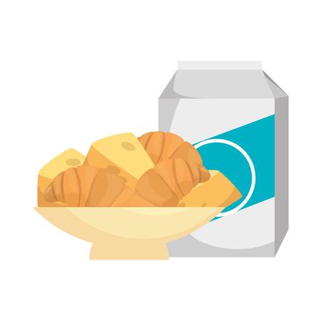 delicious breads in dish and milk vector illustration design Stockfoto - 103269603