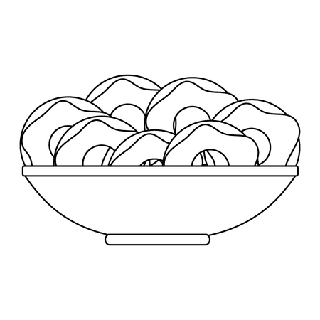 sweet donuts in dish bakery vector illustration design