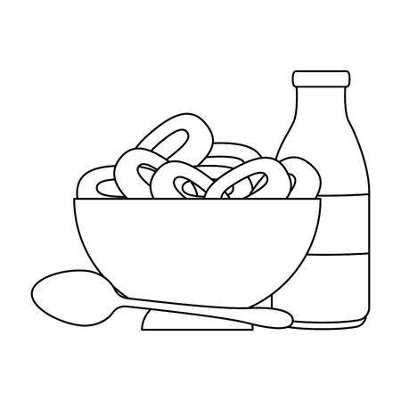 cereal dish with spoon and milk bottle vector illustration design Ilustração