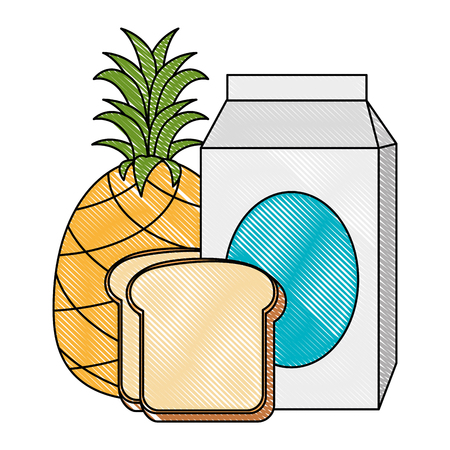 milk box with bread and fruit vector illustration design Illustration