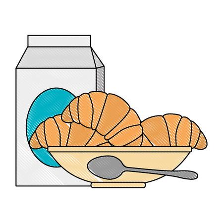 delicious bread croissant in dish and milk box vector illustration design