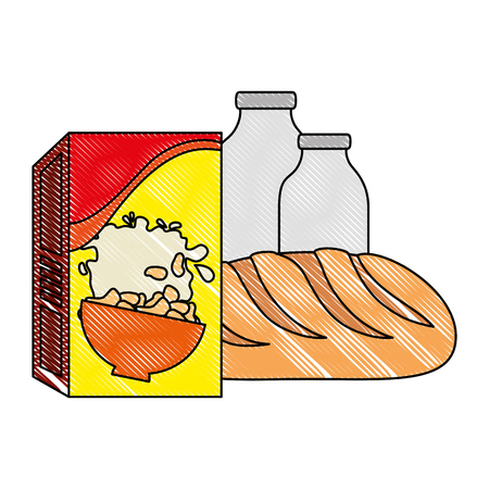 cereal box with bread and milk bottle vector illustration design  イラスト・ベクター素材