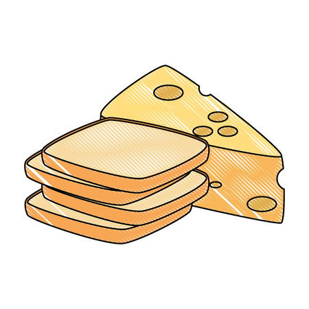 cheese piece with bread healthy food vector illustration design