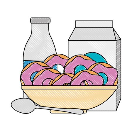 sweet donuts in dish with milk vector illustration design
