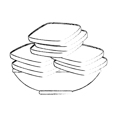 delicious breads sliced in dish vector illustration design Stock Illustratie