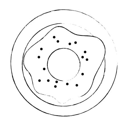sweet donut in dish vector illustration design Ilustração