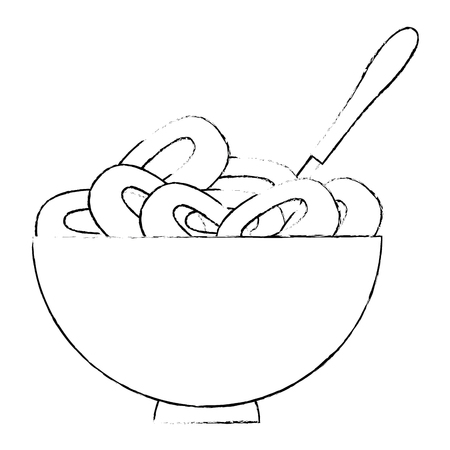 cereal dish with spoon vector illustration design Foto de archivo - 103261697