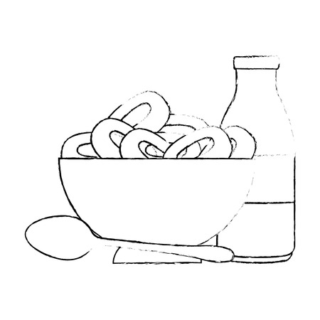 cereal dish with spoon and milk bottle vector illustration design 向量圖像