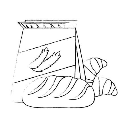 wheat bag with bread vector illustration design Reklamní fotografie - 103268256