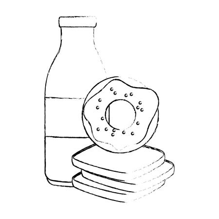 sweet donut with bread and milk vector illustration design Illustration