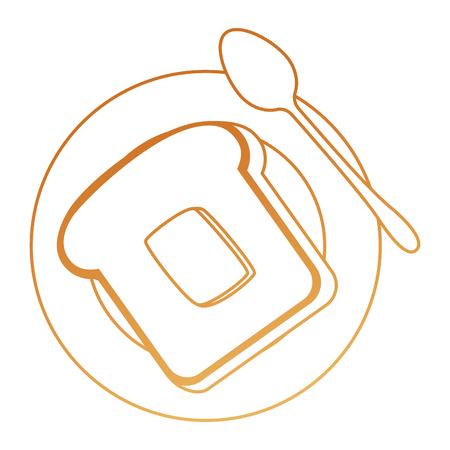 delicious bread sliced in dish and spoon vector illustration design Ilustração