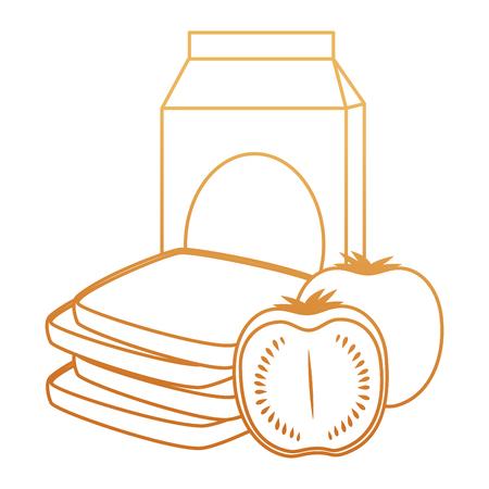 milk box with tomato and bread vector illustration design