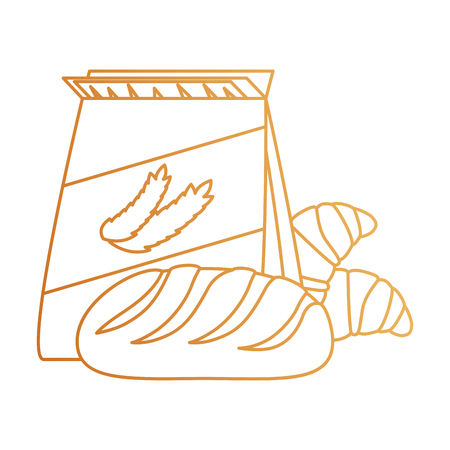 wheat bag with bread vector illustration design