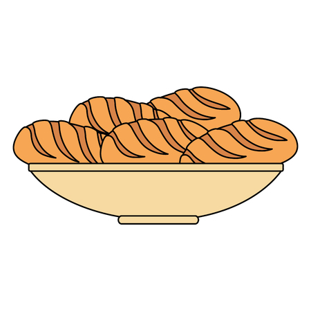 delicious breads in dish bakery vector illustration design