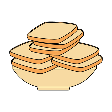 delicious breads sliced in dish vector illustration design Stockfoto - 103328426