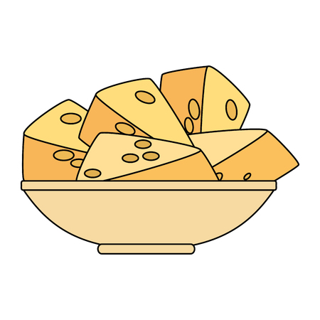 dish with cheese pieces healthy food vector illustration design 일러스트