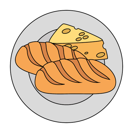 dish with cheese piece and bread vector illustration design
