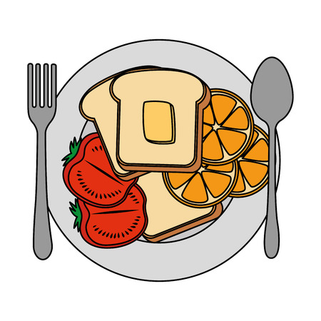 dish with delicious breakfast menu vector illustration design Archivio Fotografico - 103328434