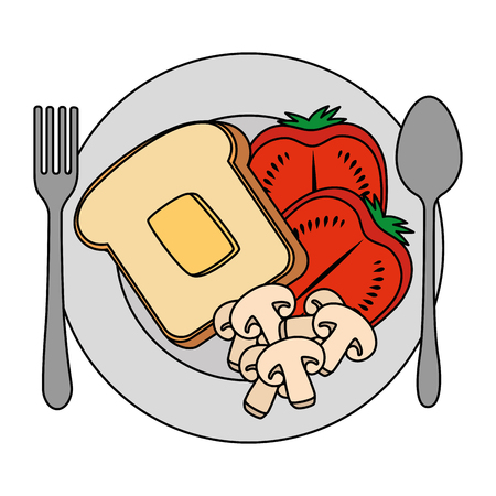 dish with delicious breakfast menu vector illustration design Archivio Fotografico - 103328435
