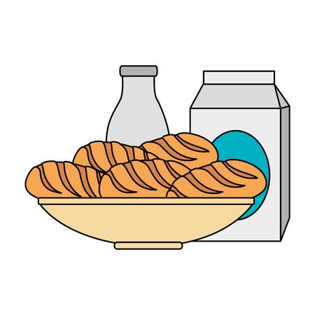 delicious breads in dish and milk vector illustration design Stockfoto - 103328612
