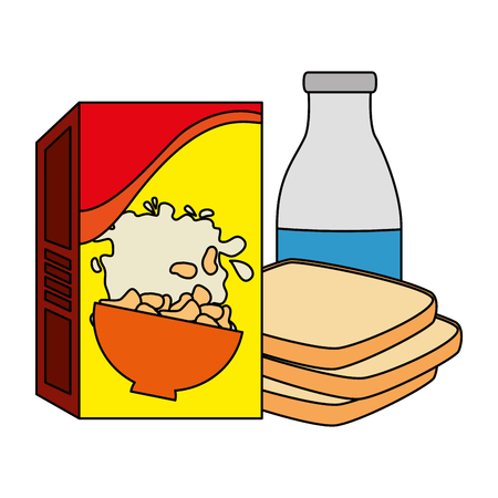 cereal box with bread and milk bottle vector illustration design Illustration