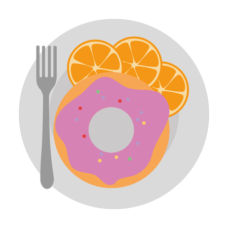 sweet donut in dish with oranges vector illustration design