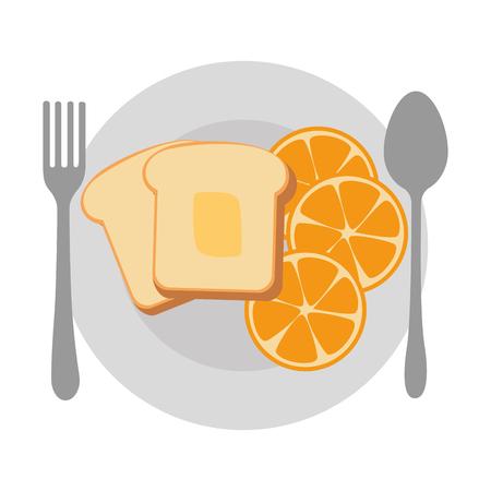 dish with delicious breakfast menu vector illustration design